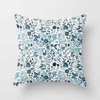 oana befort Throw Pillows featuring Blue Meadow by Oana Befort