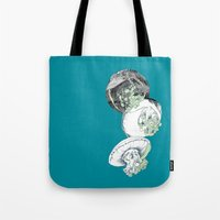 jelly fish Tote Bags featuring Jelly Fish by Eleanor V R Smith