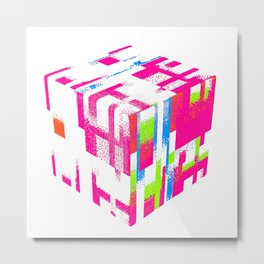Fractured Cube Metal Print