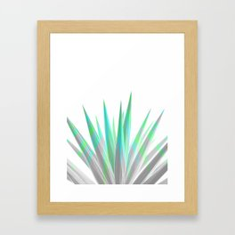 Tropical Allure - Green & Grey on White Framed Art Print
