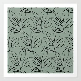 Minimal Leaves Pattern Art Print