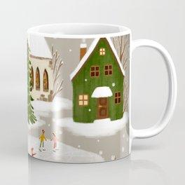 Winter Town, Tiny Houses, Church, and Snowflakes Coffee Mug