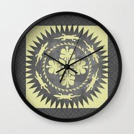 Alligator hibiscus medallion Wall Clock
