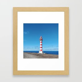 Striped Lighthouse in Gran Canaria Overlooking the Atlantic Ocean Framed Art Print