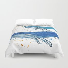Whale Mommy and Baby Duvet Cover