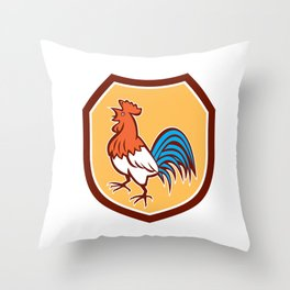 Chicken Rooster Crowing Looking Up Shield Retro Throw Pillow