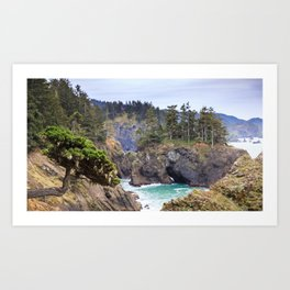 A Tree Clings to the Cliffside in the Samuel H. Boardman State Scenic Corridor Art Print