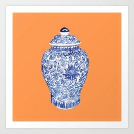 GINGER JAR ON TANGERINE  Art Print