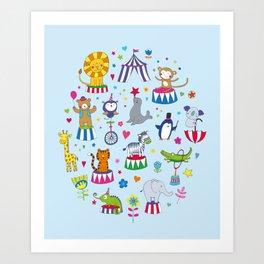 Circus Animal Alphabet - multi on pale blue Art Print