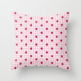 Strawberry Picnic Pattern (pink) Throw Pillow