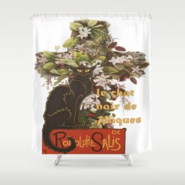 Easter Le Chat Noir de Paques With Floral Cross Shower Curtain