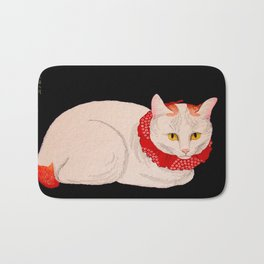 Shotei Takahashi White Cat In Red Outfit Black Background Vintage Japanese Woodblock Print Bath Mat