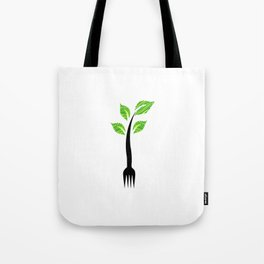 I am vegan- I am vegetarian- A fork with sprouts Tote Bag