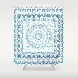 In Blue (Pattern Mandala) Shower Curtain