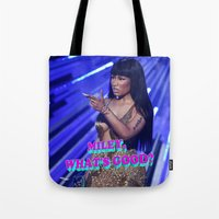 minaj Tote Bags featuring MILEY WHAT'S GOOD? by Nicki Minaj Spain