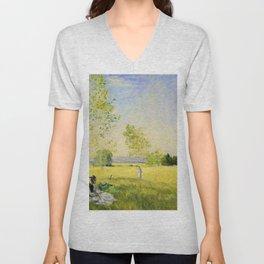 12,000pixel-500dpi - Claude Monet - Summer - Digital Remastered Edition Unisex V-Neck