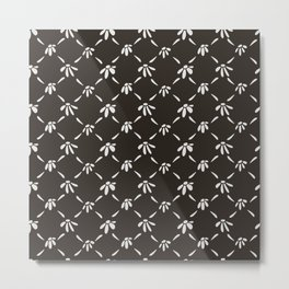 Floral Geometric Pattern Chocolate Brown Metal Print