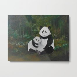 Panda Momma and Baby Metal Print