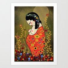 Kokeshi Hope of Klimt Art Print