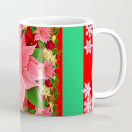 DECORATIVE SNOWFLAKES RED & PINK POINSETTIAS CHRISTMAS ART Coffee Mug