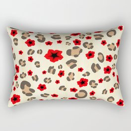 Romantic Leopard Print Pattern with Red Flowers Rectangular Pillow