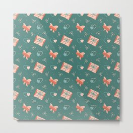 Endless love-themed pattern with hearts, envelopes and bows. Metal Print