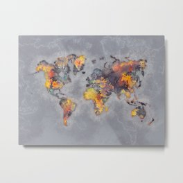 world map 111 #worldmap #world #map Metal Print