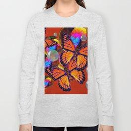 DECORATIVE MONARCH BUTTERFLIES & SOAP BUBBLES  ON TURMERIC  COLOR ART Long Sleeve T-shirt