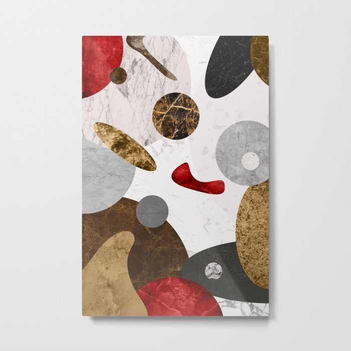 MARBLE SPHERE GALAXY GOLD RED GREY Metal Print