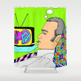 I Want my MTV the way it used to be, 90's Ewan McGregor Illustration Shower Curtain