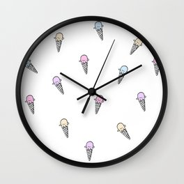 Ice cream Illustration pattern Wall Clock