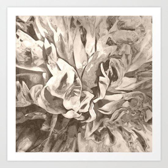 Painted Peony Sepia Cocoa Art Print