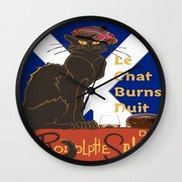 Le Chat Burns Nuit Haggis Dram Scottish Saltire Wall Clock