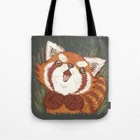 red panda Tote Bags featuring Panda by Toru Sanogawa