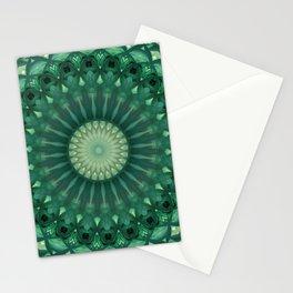 Dark and light green mandala Stationery Cards