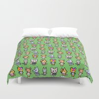 animal crossing Duvet Covers featuring Animal Crossing Design 1 by Caleb Cowan