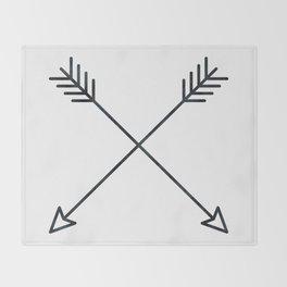 Arrows - Black and White Arrow Adventure Wanderlust Vintage Compass Design Throw Blanket