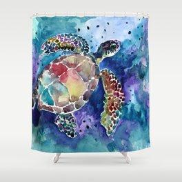 Sea Turtle underwater, beach deep blue barine blue turtle beach style design Shower Curtain