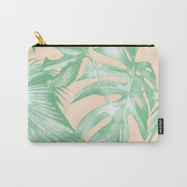 Tropical Leaves Palm Green on Citrus Carry-All Pouch