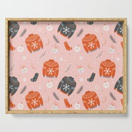 Christmas sweater pattern pink Serving Tray