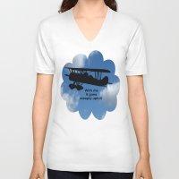 airplane V-neck T-shirts featuring airplane by Karl-Heinz Lüpke