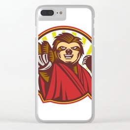 Sloth Fighter Self Defense Circle Mascot Clear iPhone Case