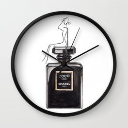 Classic Black Parfum with girl Wall Clock