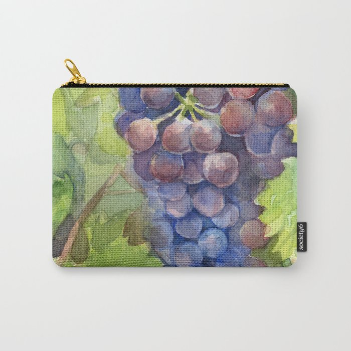 Grapes Watercolor Fruit Food Wine Lovers Carry-All Pouch
