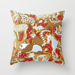 Gingerbread Animal Christmas Parade Pattern | Red Throw Pillow