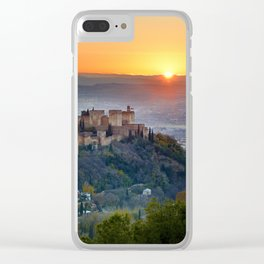 Red sunset at The Alhambra Palace Clear iPhone Case