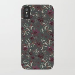 Burgundy flowers on gray iPhone Case