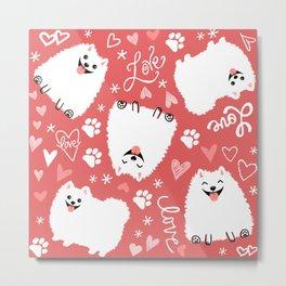 White Pomeranians Pattern Metal Print
