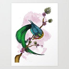 Noémie's Bird (colored version) Art Print