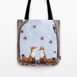 foxes, falling leaves, & pileated woodpecker Tote Bag